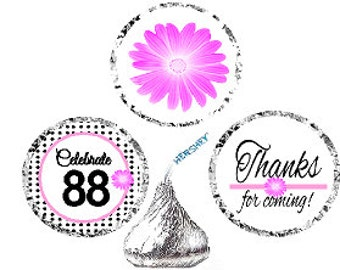 88th Birthday / Anniversary Pink Black Polka Dot Party Favor Hershey Kisses Candy Stickers / Labels -216ct