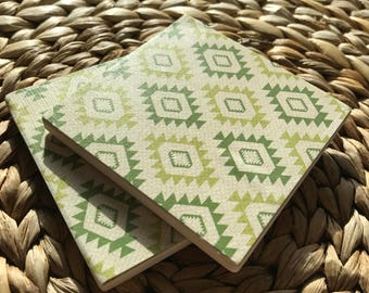 Southwestern Aztec BOHO Coasters   Tribal Drink Green Coasters - Full Cork Backing