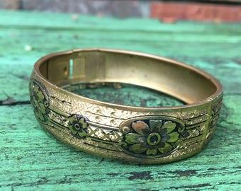 Vintage Gold Cuff Bracelet--Large Bangle