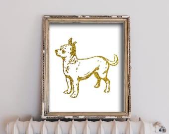 Wall Decor - Wall Art - Digital Download - Gold Glitter - Chihuahua - Dorm Room Art - Living Room Decor