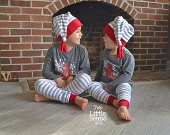 Christmas Baby Leggings - Baby Christmas Outfit - Matching Christmas Pajamas - Toddler Christmas Clothes - Kids Christmas Clothes - Grey/Red