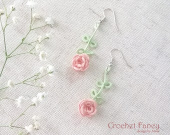 Rose flower earrings, Summer flowers, Tatting lace jewelry, Gift for her