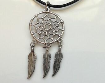 Dreamcatcher necklace ,dreamcatcher hippie pendant ,feather necklace ,free spirit jewelry ,dreamcatcher jewelry ,metal boho necklace