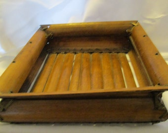 Vintage wood and reed basket