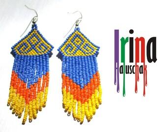 Beaded earrings, seed bead earrings, modern earrings, boho earrings, fringe earrings, blue, yellow and orange earrings, Chevron earrings