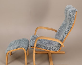 Scandinavian Yngve Ekström style bent plywood armchair and stool with sheepskin lamino cover