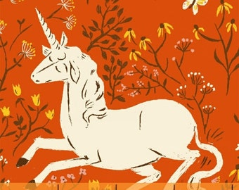 FQ - Far Far Away by Heather Ross for Windham Fabrics - Unicorn in Orange - Quilting Cotton Fabric