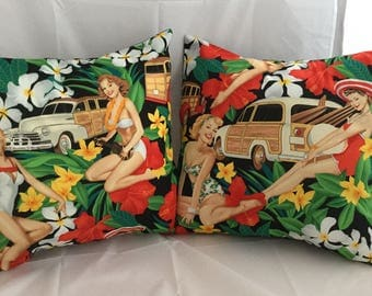 Retro pinup girls, woodies, surfboards & hibiscus flower cushion cover