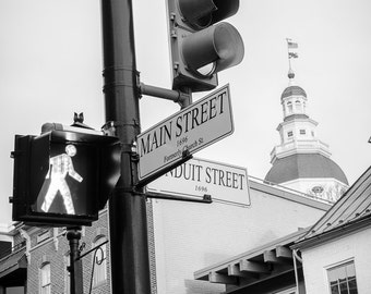 Main Street & The State House - Annapolis - Maryland - Black and White - Landscape - Fine Art Print
