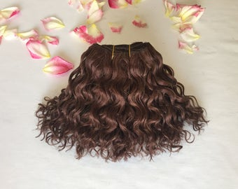 Chocolate brown curly mohair weft 90g, 175inch, Blythe doll, Waldorf doll hair