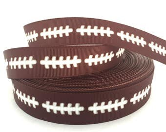 Football Ribbon, Football Grosgrain, Brown football ribbon, Sports Ribbon, Sports Grosgrain, Football laces ribbon, football themed ribbon