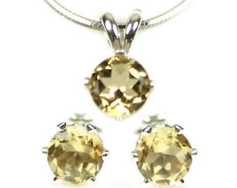 Yellow Citrine Jewelry Set Silver Earrings and Necklace 925 Sterling Pendant 6mm Gemstone Wife Gift Yellow Jewelry Set November Birthstone