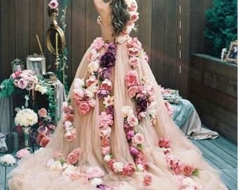 Unique wedding dress, Floral dress special occasion,paper flowers garlands, Floral Dress, personalised summer, graduation  floral drees