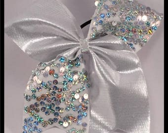 Shimmer white, and white Sequins Cheer Bow