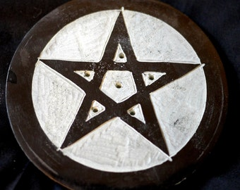 Black Pentagram - Stone Incense Holder