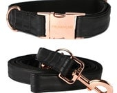 Dog collar ECLIPSE with rose gold colored hardware - handmade from soft black faux leather - collar and matching leash available