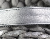 Dog collar SILVER with silver colored hardware - handmade from durable faux leather -  METALLIC COLLECTION - matching leash available