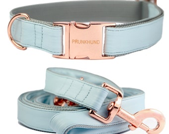 Dog collar ICE BLUE with rose gold colored hardware - handmade - minimal