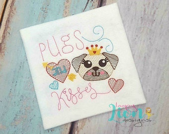 Pugs and Kisses - Embroidery File