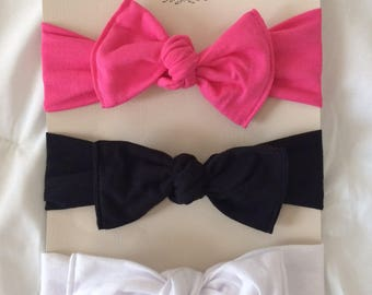 Knotted bow baby headbands (set of 3)