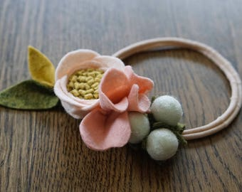 Light Pink Felt flower Headband Newborn - Adult
