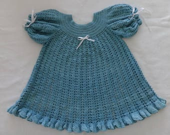 Vintage 1920s Turquoise Crocheted Girls Toddler Dress Size 2T ?
