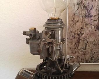 Steampunk, Dieselpunk Carburetor & Vacuum Tube Lamp