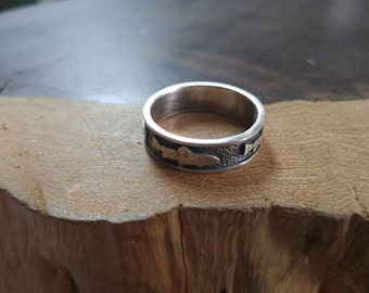 Sterling Silver Trout Fish Mens Ring, Handmade, Quality Made, Durable, Patina, Size 10 1/2, Textured