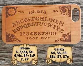 Ouija Board, iPhone 7/7P 6/6s 6P/6sP 5/5s/5c 4/4s, Galaxy S7/S7e S6/S6e S5 S4, Laser Engraved Wood Phone Case