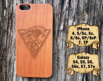 Surfing Wave, iPhone 7/7P 6/6s 6P/6sP 5/5s/5c 4/4s, Galaxy S7/S7e S6/S6e S5 S4, Laser Engraved Wood Phone Case