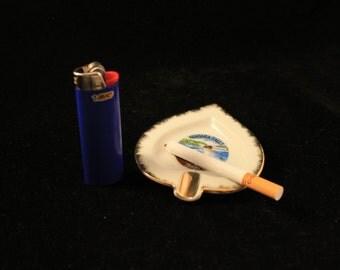 Niagara Falls Canada Ashtray Vintage Porcelain Spade Shaped Gold Trim Travel Souvenir Smoker Cigarettes Tobacco Marijuana Gift