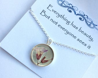Sterling Silver real flower necklace