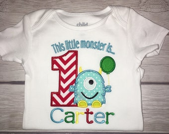 Appliqué monster birthday shirt!! Custom monogrammed!