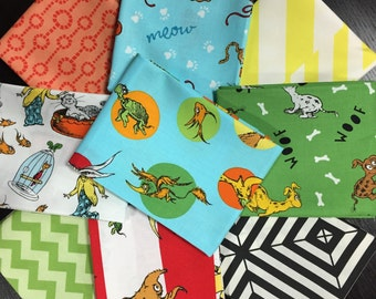 Dr. Seuss Fabric Bundle - What Pet Should I Get - Curated by Needle in a Fabric Stash - 9 Fat Quarters