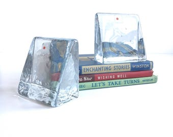 Mid Century Glass Blenko Bookends, Vintage Glass Bookends by Don Shepherd for Blenko with Original Stickers, Vintage Blenko Wedge Bookends
