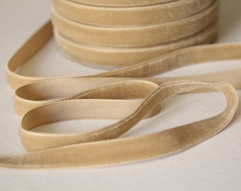 3/8 inch Candied Ginger Velveteen Ribbon /   VRYM38-836