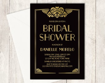 Art Deco Bridal Shower Invitation / Great Gatsby, Roaring Twenties, 1920s / Black and Gold  ▷ Printed Heavy Paper {or} Printable