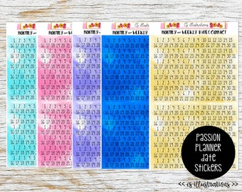 Square Dates for Undated Planners; Perfect for Passion Planner Monthly Calendar and Weekly Section   Passion Planner Stickers
