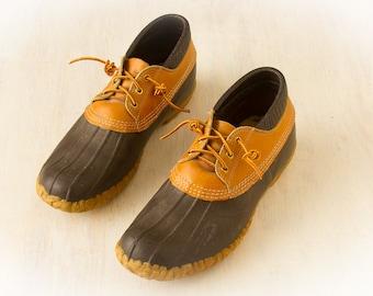 Vintage L.L. Bean Maine Hunting Shoes (c.70's, 80's) Low Rubber Duck Boots Sz. 11 M /  Leather Brown Rain Boots , RETRO Winter Shoes