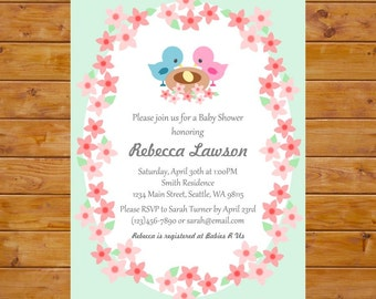 Flower Baby Shower Invitation with Bird Nest - Bird Themed Baby Shower Invitation with Flowers - Printable, Custom, Digital File