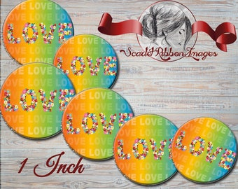 Flower Letter Love in Rainbow colors bottle cap images Digital printable collage sheets, stickers, magnets, cupcake toppers, gift tags