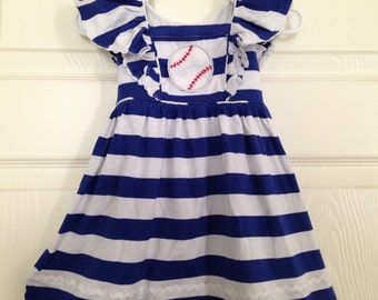 Blue Stripe Baseball Knit Ruffle Dress Baby Toddler Girls Outfit Birthday Party