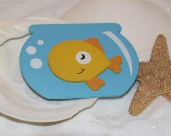 Gold Fish Bowl Wooden Shape