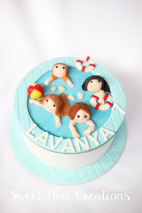 Swimming Pool Cake Topper Pool Party Cake Topper Swimming
