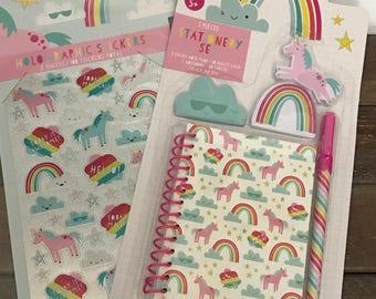 Unicorn stationary set -stickers/notebook/pen) NEW