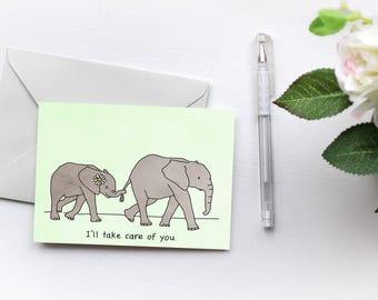 Elephants love Drake | Take Care | Greetings Card