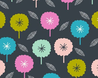 Charcoal Floral Print Cotton Quilting and Patchwork Fabric - Fat Quarter