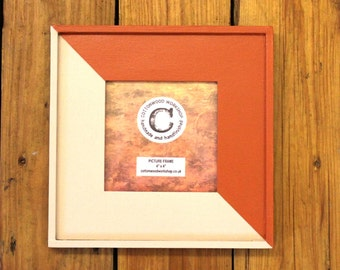 "Wooden Photo Frame. 4"" Square. Wooden Picture Frame. Painted Frame. 7"" Square Frame, Orange and Light Grey Brown, Free standing."