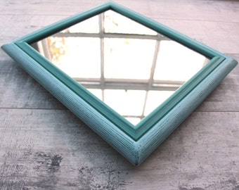 Wooden Wall Mirror, Wooden Mirror Frame, Turquoise Enhanced Grain, Rectangular, Handmade, Hand Painted, Hand Finished, Wall Hanging, Scandi.