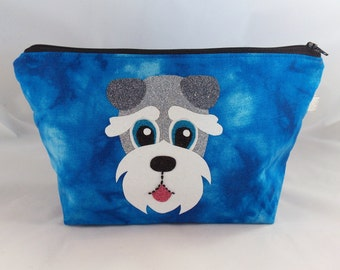 Schnauzer Makeup Bag, Cosmetic Bag, Dog Lover Gift, Gift For Her, Mothers Day Gift, Schnauzer Gift, Make Up Bag